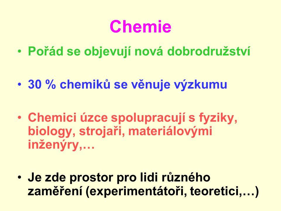 Chemie Pořád se objevují nová dobrodružství 30 % chemiků se věnuje výzkumu Chemici úzce spolupracují s fyziky, biology, strojaři, materiálovými inženýry,… Je zde prostor pro lidi různého zaměření (experimentátoři, teoretici,…)