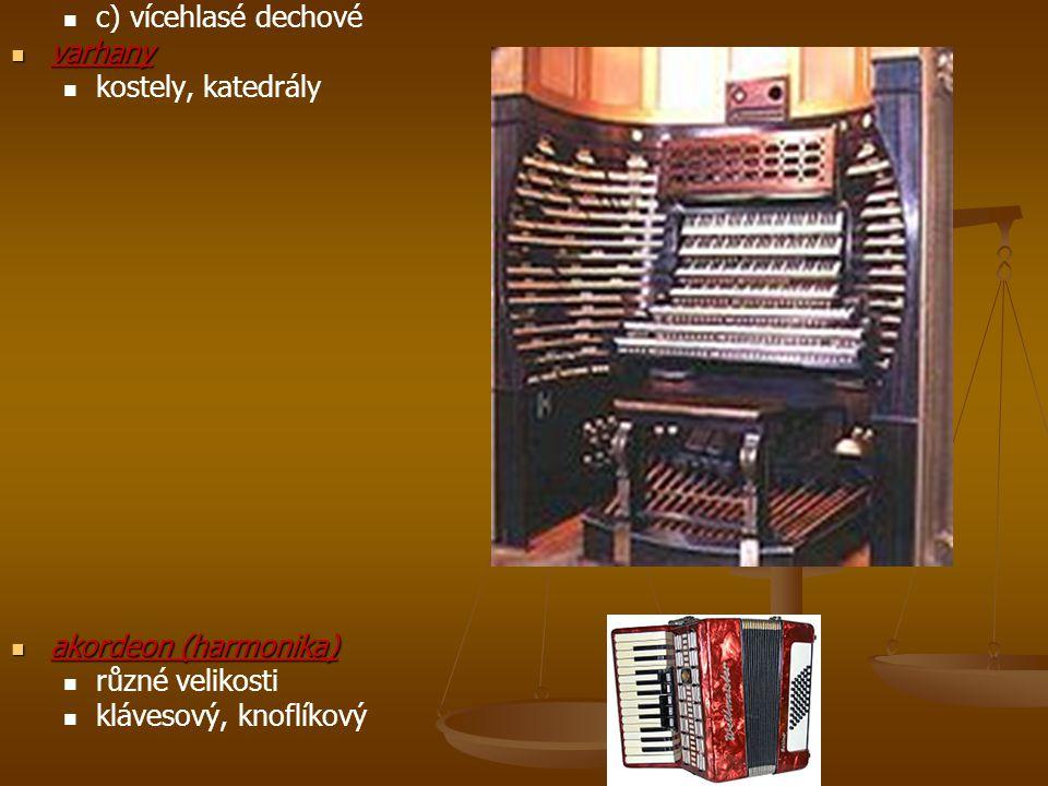 c) vícehlasé dechové varhany varhany kostely, katedrály akordeon (harmonika) akordeon (harmonika) různé velikosti klávesový, knoflíkový