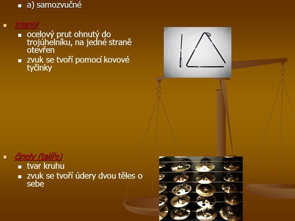 a) samozvučné a) samozvučné triangl triangl ocelový prut ohnutý do trojúhelníku, na jedné straně otevřen zvuk se tvoří pomocí kovové tyčinky činely (t