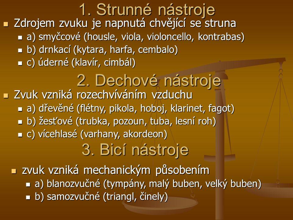 1. Strunné nástroje Zdrojem zvuku je napnutá chvějící se struna Zdrojem zvuku je napnutá chvějící se struna a) smyčcové (housle, viola, violoncello, k