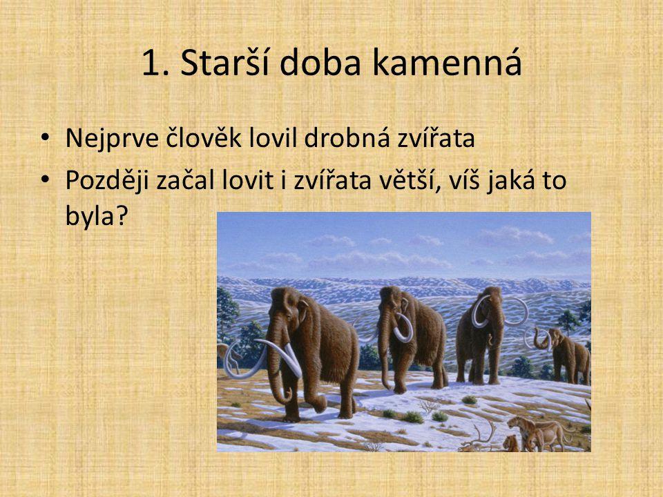 1. Starší doba kamenná Nejprve člověk lovil drobná zvířata Později začal lovit i zvířata větší, víš jaká to byla?