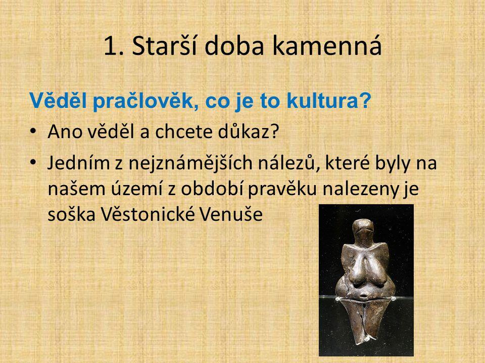 1. Starší doba kamenná Věděl pračlověk, co je to kultura? Ano věděl a chcete důkaz? Jedním z nejznámějších nálezů, které byly na našem území z období