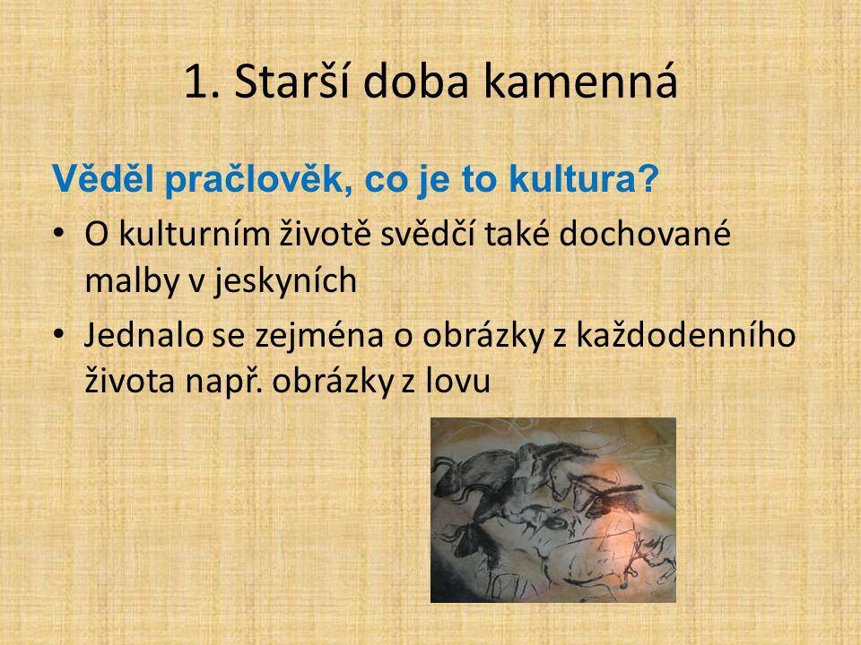 1. Starší doba kamenná Věděl pračlověk, co je to kultura? O kulturním životě svědčí také dochované malby v jeskyních Jednalo se zejména o obrázky z ka