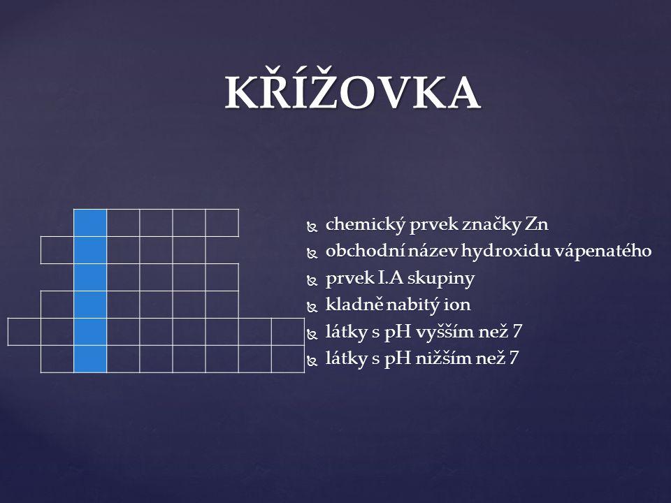 KŘÍŽOVKA  chemický prvek značky Zn  obchodní název hydroxidu vápenatého  prvek I.A skupiny  kladně nabitý ion  látky s pH vyšším než 7  látky s pH nižším než 7