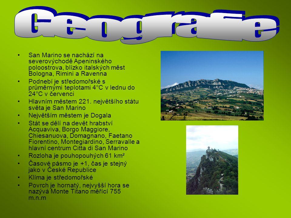 San Marino se nachází na severovýchodě Apeninského poloostrova, blízko italských měst Bologna, Rimini a Ravenna Podnebí je středomořské s průměrnými t