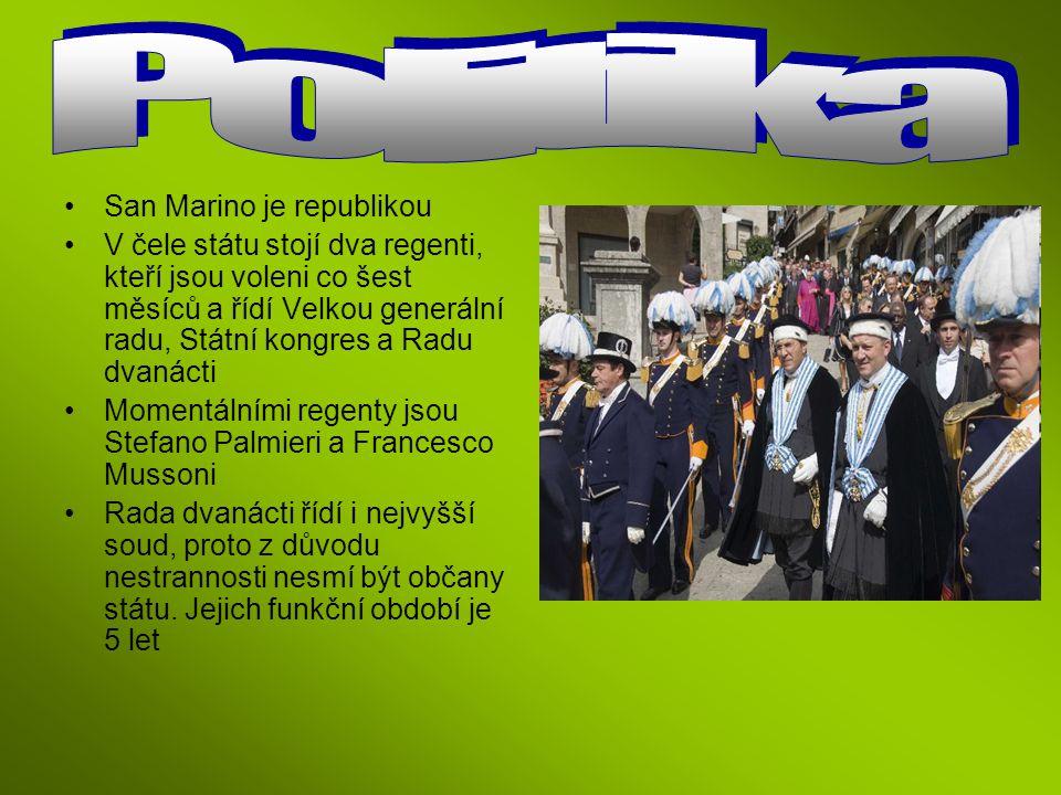 San Marino je republikou V čele státu stojí dva regenti, kteří jsou voleni co šest měsíců a řídí Velkou generální radu, Státní kongres a Radu dvanácti