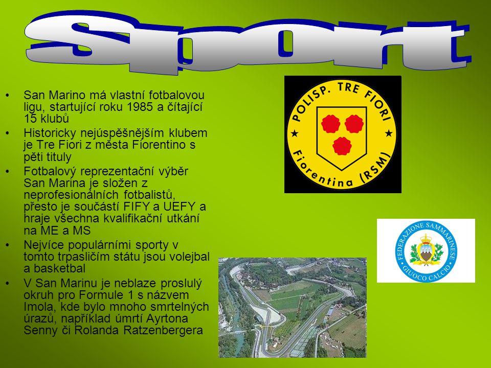 San Marino má vlastní fotbalovou ligu, startující roku 1985 a čítající 15 klubů Historicky nejúspěšnějším klubem je Tre Fiori z města Fiorentino s pět