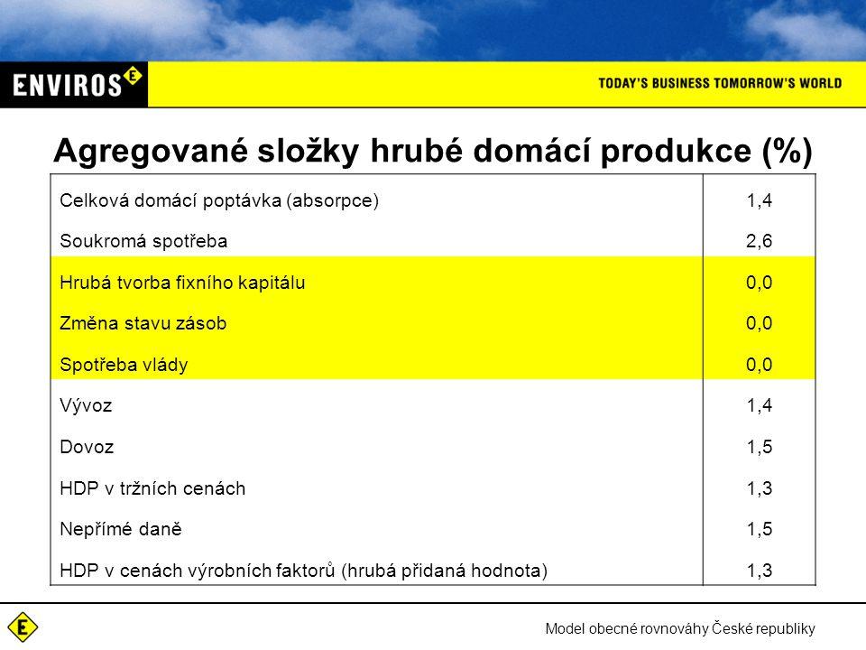 Model obecné rovnováhy České republiky Agregované složky hrubé domácí produkce (%) Celková domácí poptávka (absorpce)1,4 Soukromá spotřeba2,6 Hrubá tvorba fixního kapitálu0,0 Změna stavu zásob0,0 Spotřeba vlády0,0 Vývoz1,4 Dovoz1,5 HDP v tržních cenách1,3 Nepřímé daně1,5 HDP v cenách výrobních faktorů (hrubá přidaná hodnota)1,3