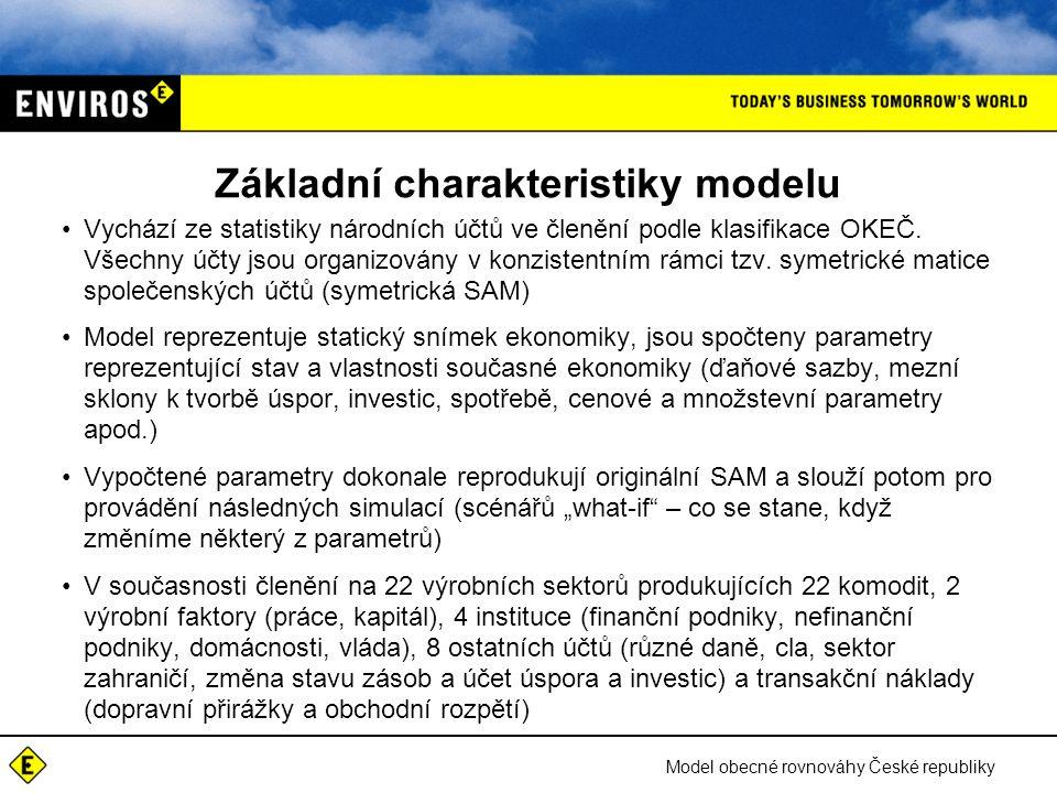 Model obecné rovnováhy České republiky Základní charakteristiky modelu Vychází ze statistiky národních účtů ve členění podle klasifikace OKEČ.