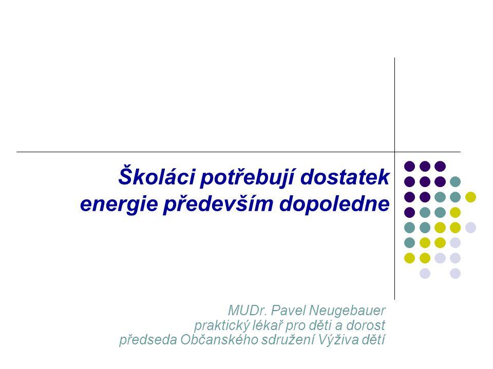 MUDr. Pavel Neugebauer praktický lékař pro děti a dorost předseda Občanského sdružení Výživa dětí Školáci potřebují dostatek energie především dopoled