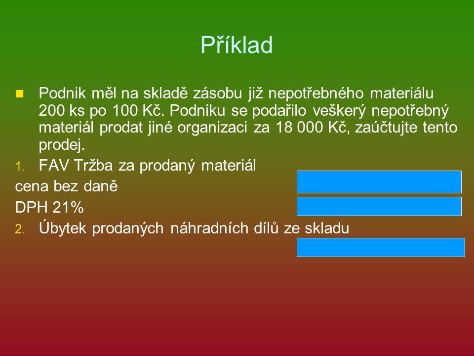 Příklad Podnik měl na skladě zásobu již nepotřebného materiálu 200 ks po 100 Kč.