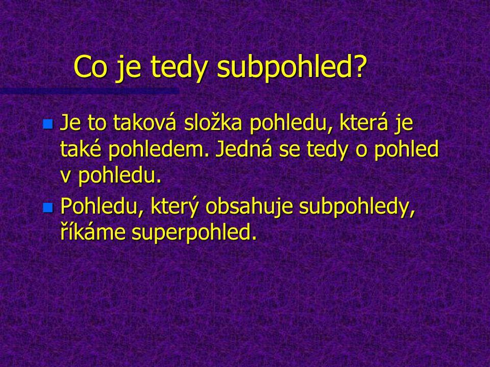 Co je tedy subpohled. n Je to taková složka pohledu, která je také pohledem.