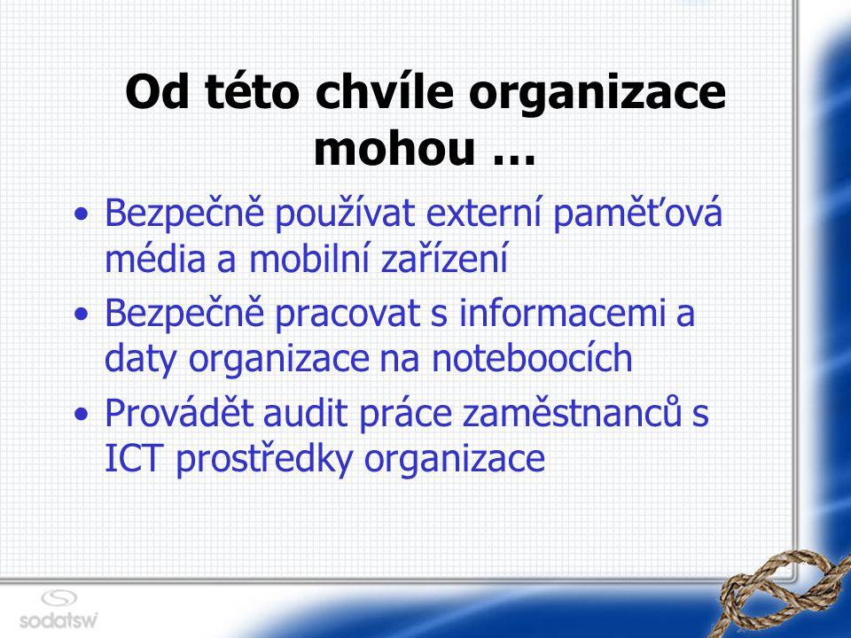 Od této chvíle organizace mohou … Bezpečně používat externí paměťová média a mobilní zařízení Bezpečně pracovat s informacemi a daty organizace na noteboocích Provádět audit práce zaměstnanců s ICT prostředky organizace