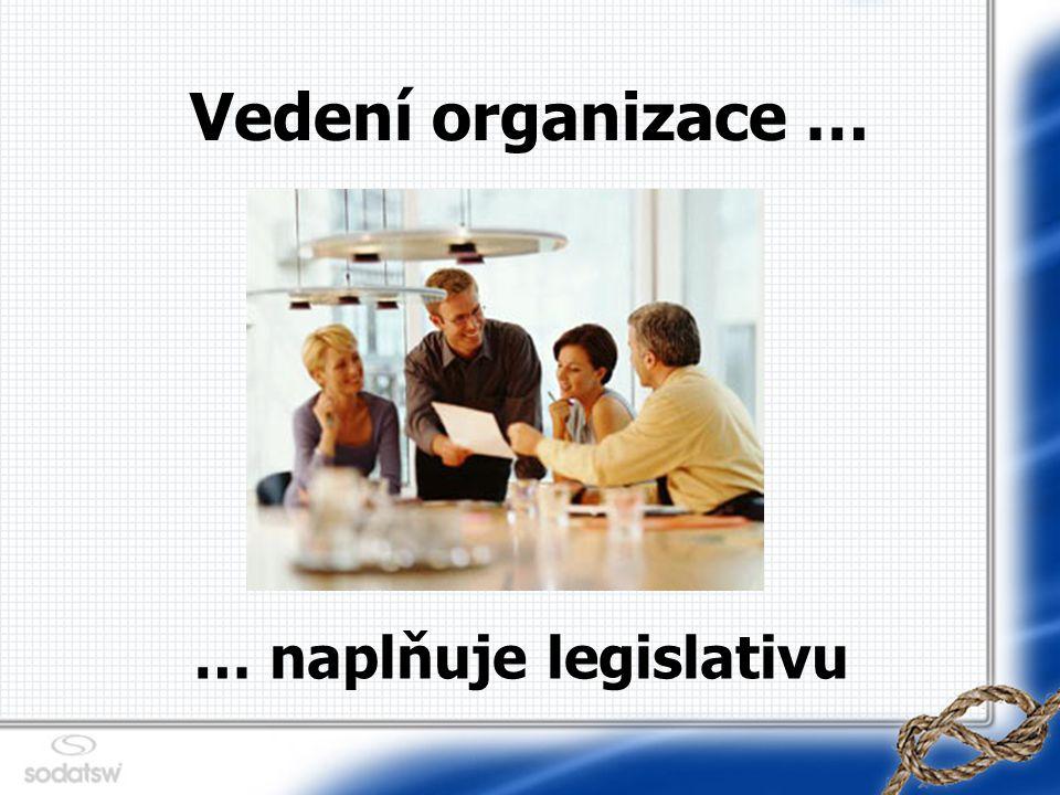 Vedení organizace … … naplňuje legislativu