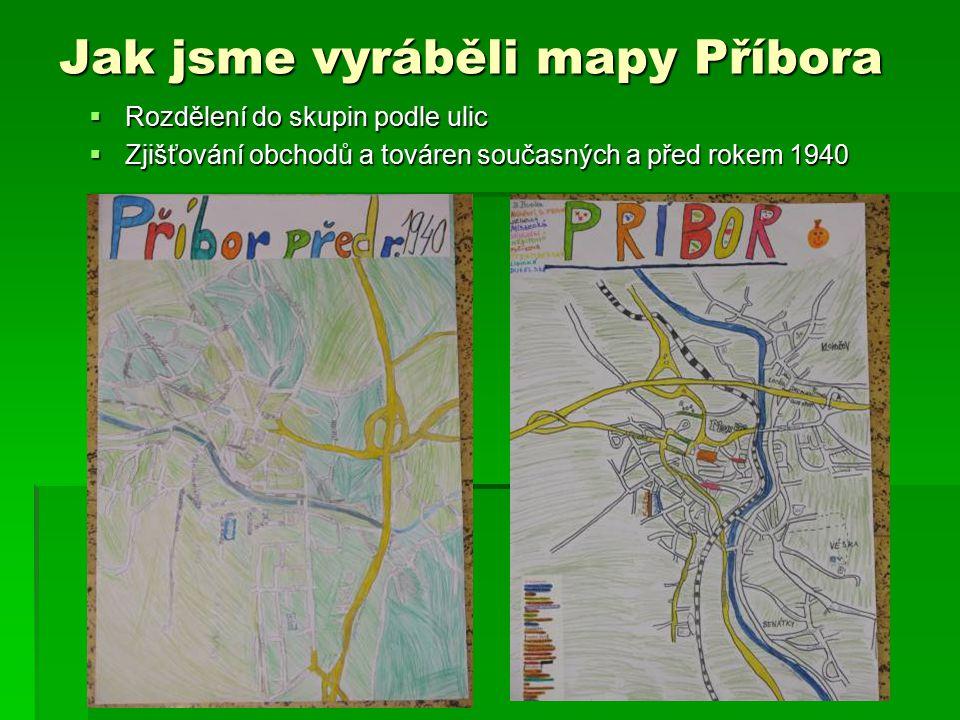 Jak jsme vyráběli mapy Příbora  Rozdělení do skupin podle ulic  Zjišťování obchodů a továren současných a před rokem 1940