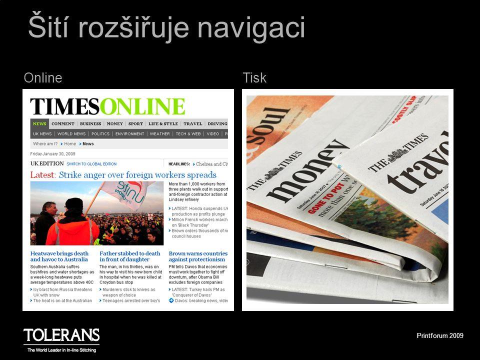 Printforum 2009 TiskOnline Šití rozšiřuje navigaci