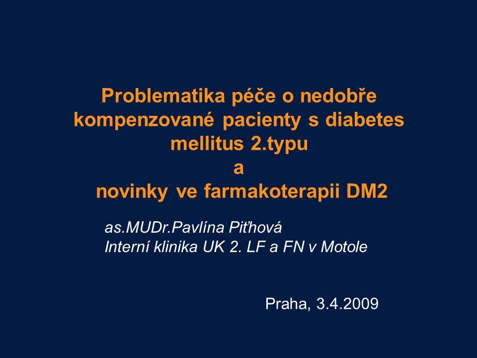Problematika péče o nedobře kompenzované pacienty s diabetes mellitus 2.typu a novinky ve farmakoterapii DM2 Praha, 3.4.2009 as.MUDr.Pavlína Piťhová I