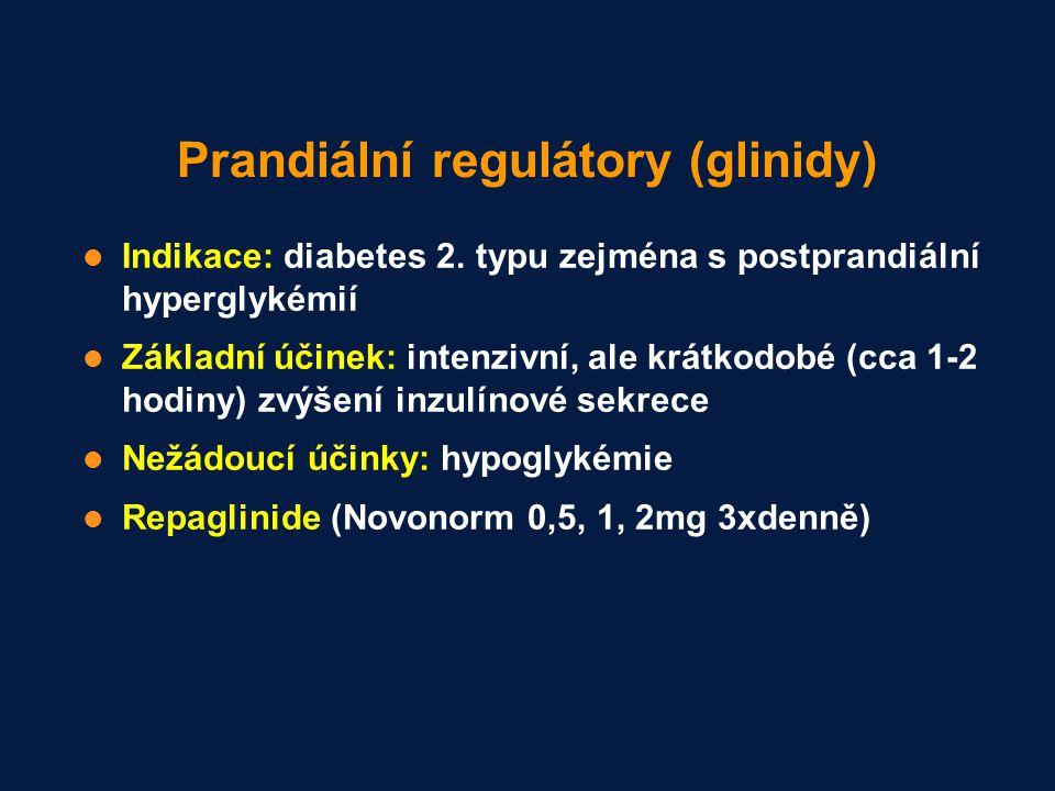 Prandiální regulátory (glinidy) Indikace: diabetes 2. typu zejména s postprandiální hyperglykémií Základní účinek: intenzivní, ale krátkodobé (cca 1-2