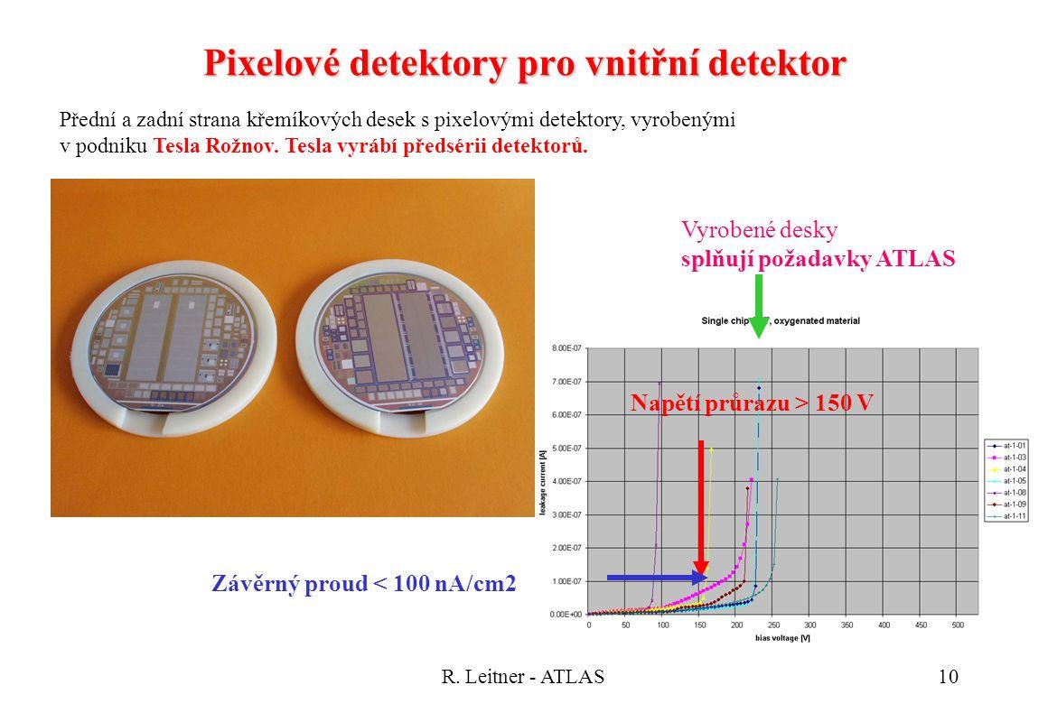 R. Leitner - ATLAS10 Pixelové detektory pro vnitřní detektor Přední a zadní strana křemíkových desek s pixelovými detektory, vyrobenými v podniku Tesl