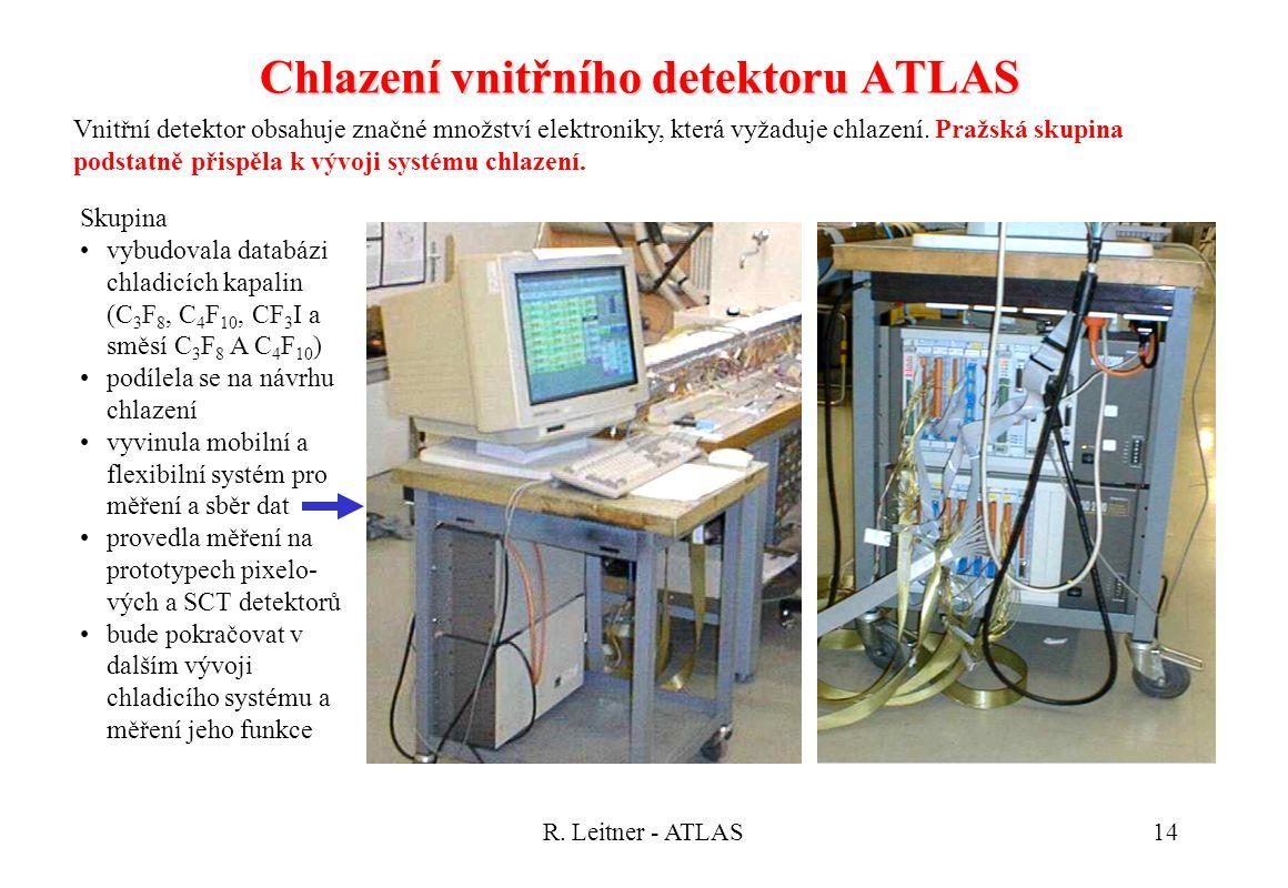 R. Leitner - ATLAS14 Chlazení vnitřního detektoru ATLAS Skupina vybudovala databázi chladicích kapalin (C 3 F 8, C 4 F 10, CF 3 I a směsí C 3 F 8 A C