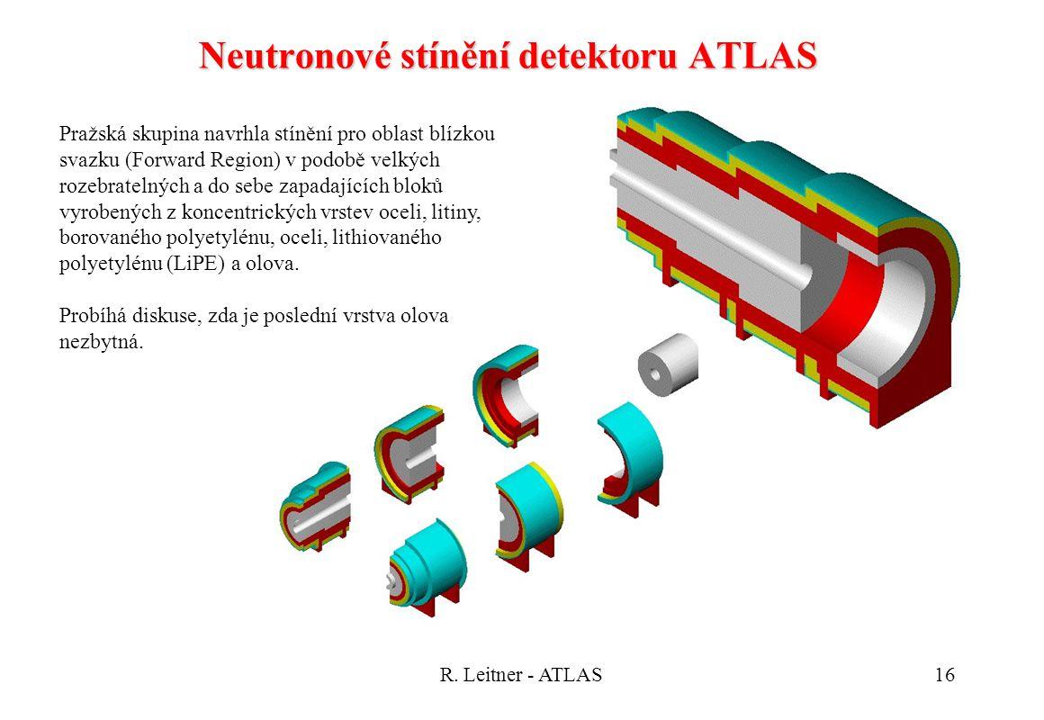 R. Leitner - ATLAS16 Neutronové stínění detektoru ATLAS Pražská skupina navrhla stínění pro oblast blízkou svazku (Forward Region) v podobě velkých ro