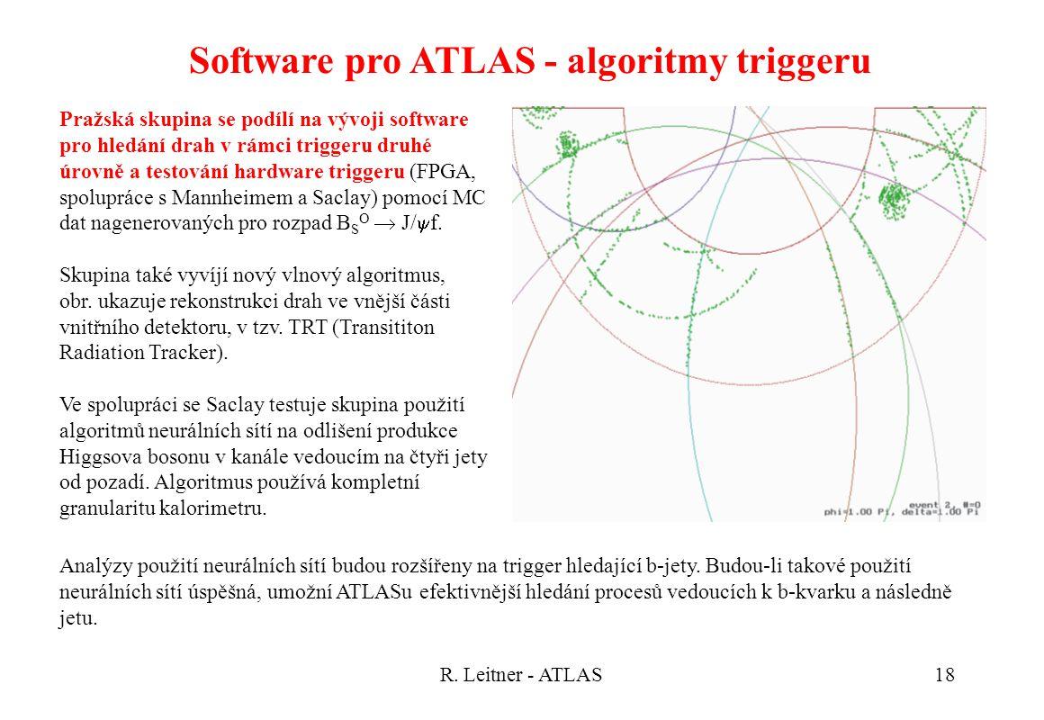 R. Leitner - ATLAS18 Software pro ATLAS - algoritmy triggeru Pražská skupina se podílí na vývoji software pro hledání drah v rámci triggeru druhé úrov