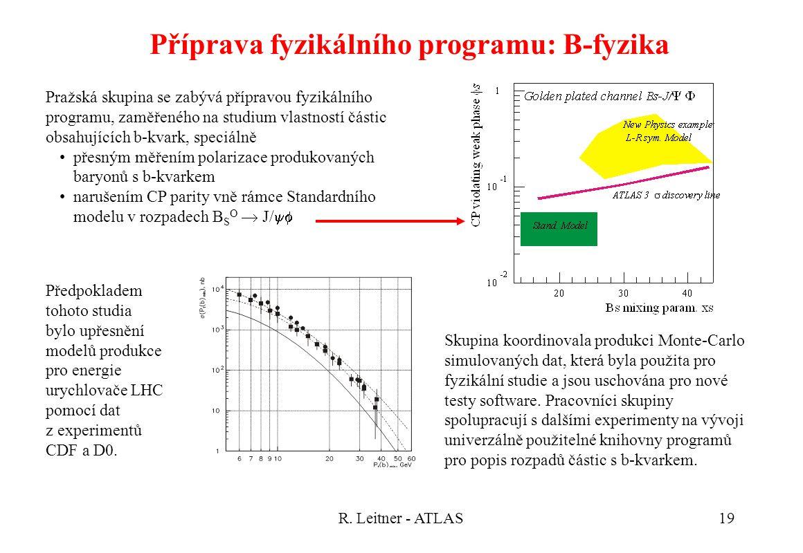 R. Leitner - ATLAS19 Příprava fyzikálního programu: B-fyzika Skupina koordinovala produkci Monte-Carlo simulovaných dat, která byla použita pro fyziká