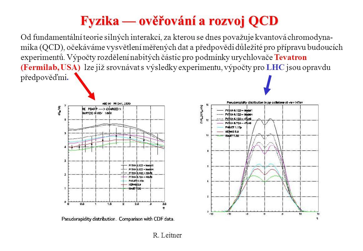 R. Leitner - ATLAS21 Fyzika — ověřování a rozvoj QCD Od fundamentální teorie silných interakcí, za kterou se dnes považuje kvantová chromodyna- mika (