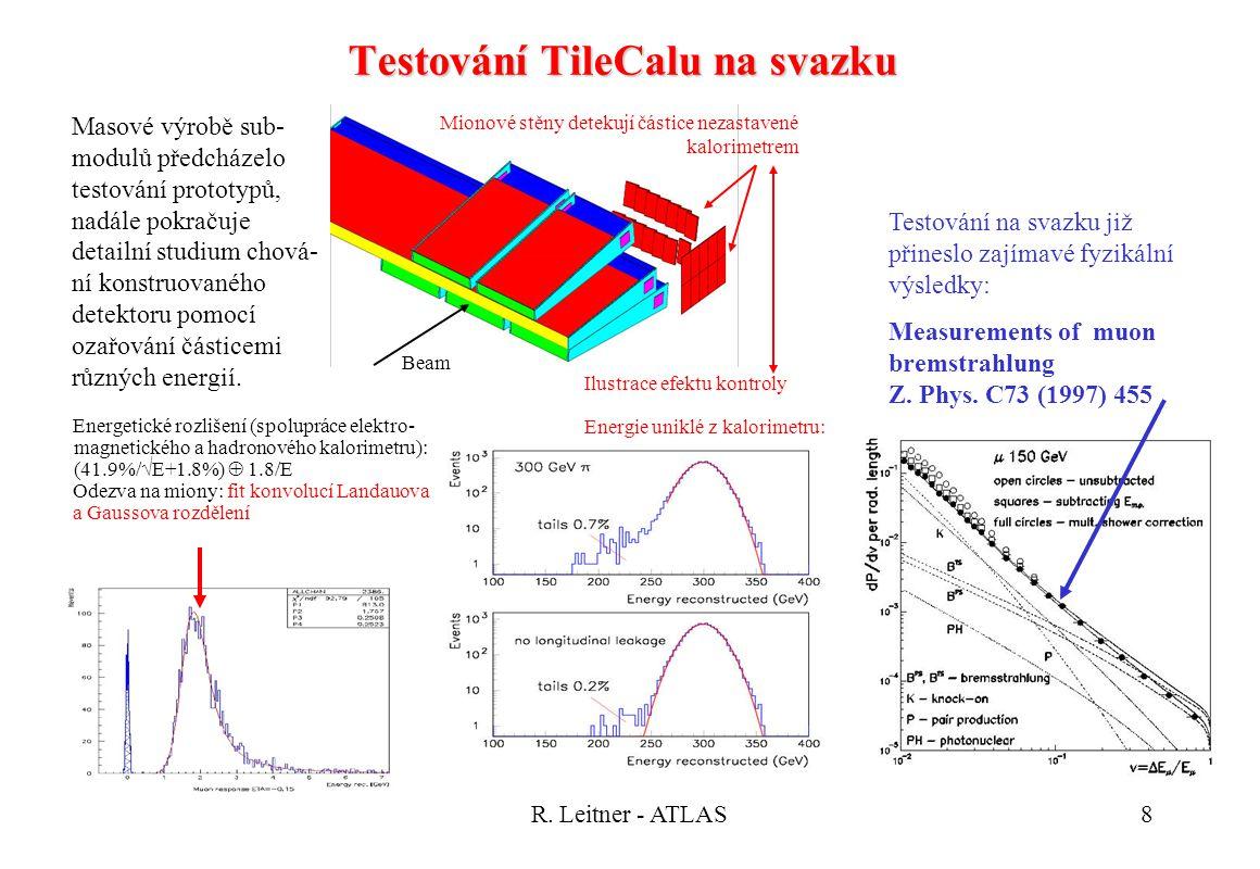 R. Leitner - ATLAS8 Testování TileCalu na svazku Energetické rozlišení (spolupráce elektro- magnetického a hadronového kalorimetru): (41.9%/  E+1.8%)