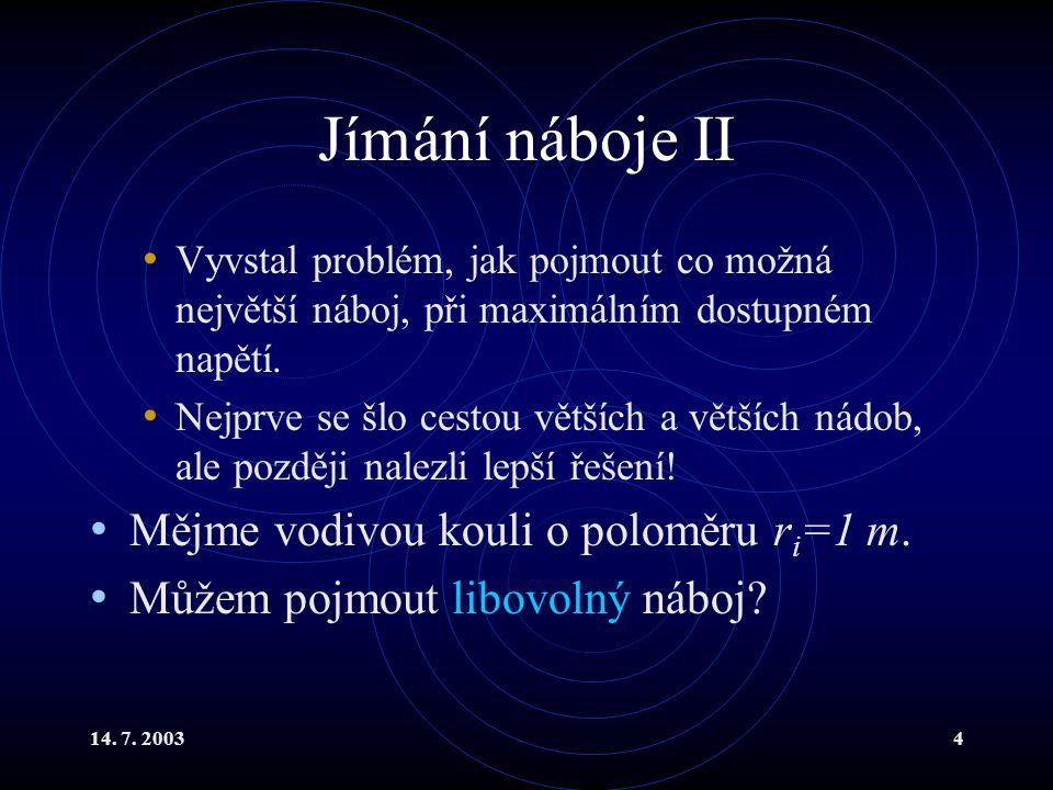 14.7. 20035 Jímání náboje III Odpověď je NE. V praxi jsme limitováni mezní intenzitou.
