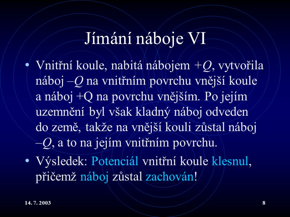 14. 7. 20038 Jímání náboje VI Vnitřní koule, nabitá nábojem +Q, vytvořila náboj –Q na vnitřním povrchu vnější koule a náboj +Q na povrchu vnějším. Po