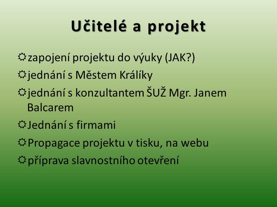 Učitelé a projekt  zapojení projektu do výuky (JAK?)  jednání s Městem Králíky  jednání s konzultantem ŠUŽ Mgr.