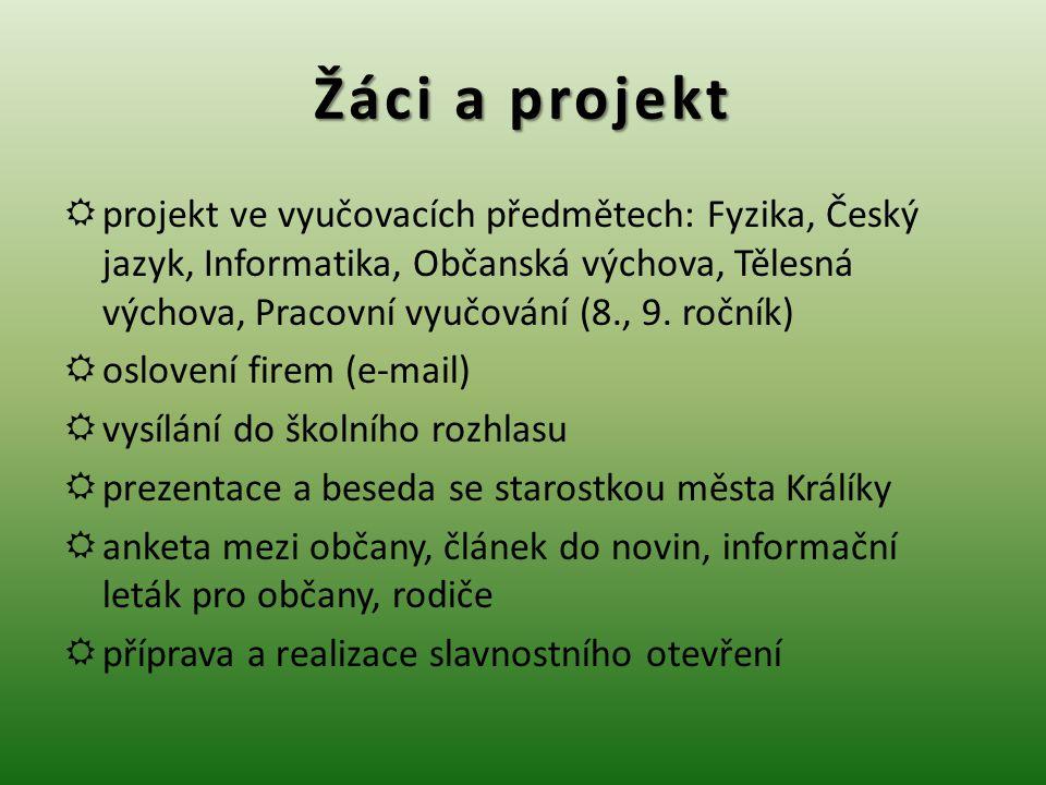 Žáci a projekt  projekt ve vyučovacích předmětech: Fyzika, Český jazyk, Informatika, Občanská výchova, Tělesná výchova, Pracovní vyučování (8., 9.