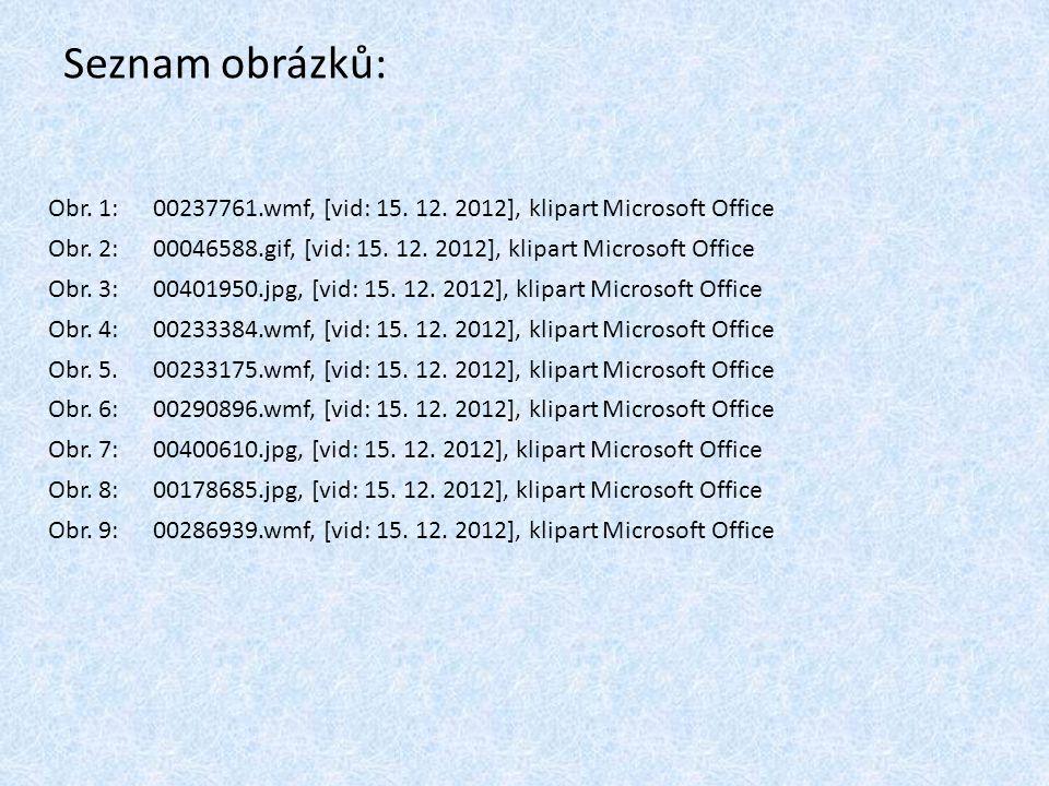 Seznam obrázků: Obr. 1:00237761.wmf, [vid: 15. 12. 2012], klipart Microsoft Office Obr. 2:00046588.gif, [vid: 15. 12. 2012], klipart Microsoft Office