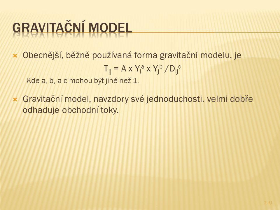  Obecnější, běžně používaná forma gravitační modelu, je T ij = A x Y i a x Y j b /D ij c Kde a, b, a c mohou být jiné než 1.  Gravitační model, navz