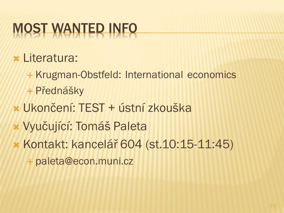  Literatura:  Krugman-Obstfeld: International economics  Přednášky  Ukončení: TEST + ústní zkouška  Vyučující: Tomáš Paleta  Kontakt: kancelář 6