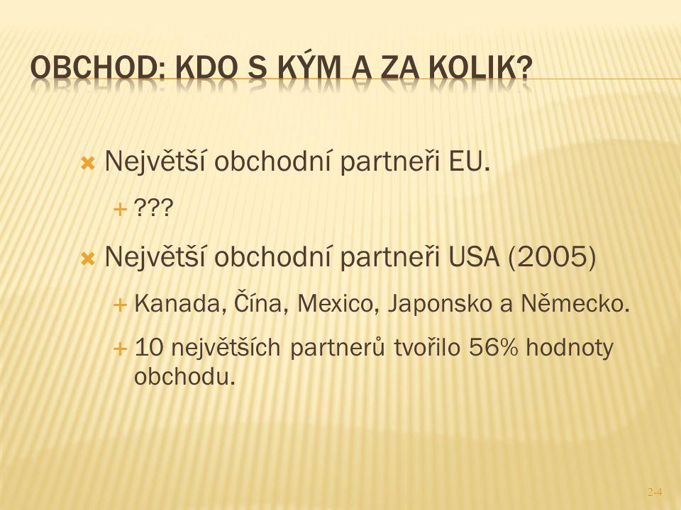  Největší obchodní partneři EU.  ???  Největší obchodní partneři USA (2005)  Kanada, Čína, Mexico, Japonsko a Německo.  10 největších partnerů tv