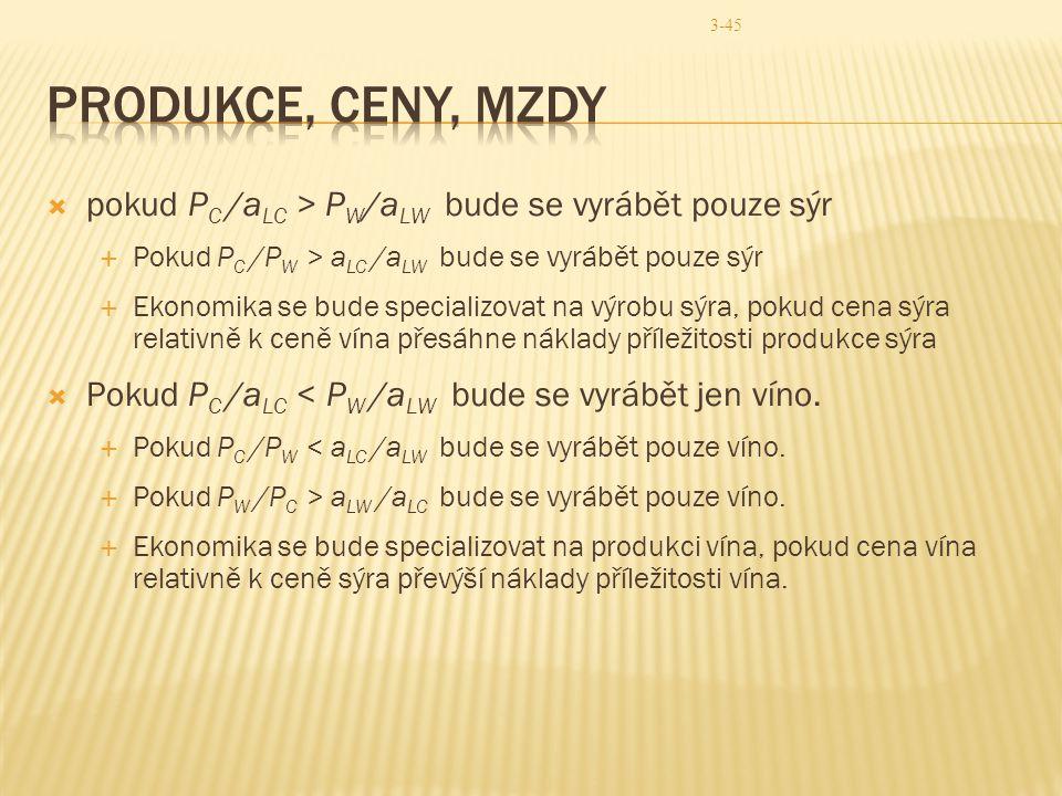 3-45  pokud P C /a LC > P W /a LW bude se vyrábět pouze sýr  Pokud P C /P W > a LC /a LW bude se vyrábět pouze sýr  Ekonomika se bude specializovat
