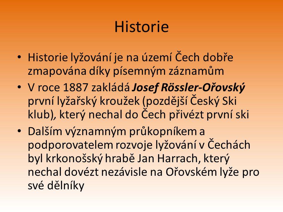 Historie Historie lyžování je na území Čech dobře zmapována díky písemným záznamům V roce 1887 zakládá Josef Rössler-Ořovský první lyžařský kroužek (p