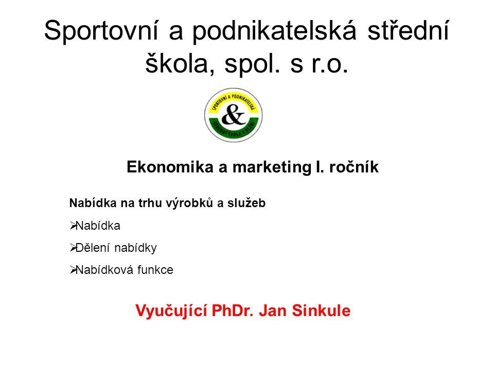 Sportovní a podnikatelská střední škola, spol. s r.o. Ekonomika a marketing I. ročník Vyučující PhDr. Jan Sinkule Nabídka na trhu výrobků a služeb  N