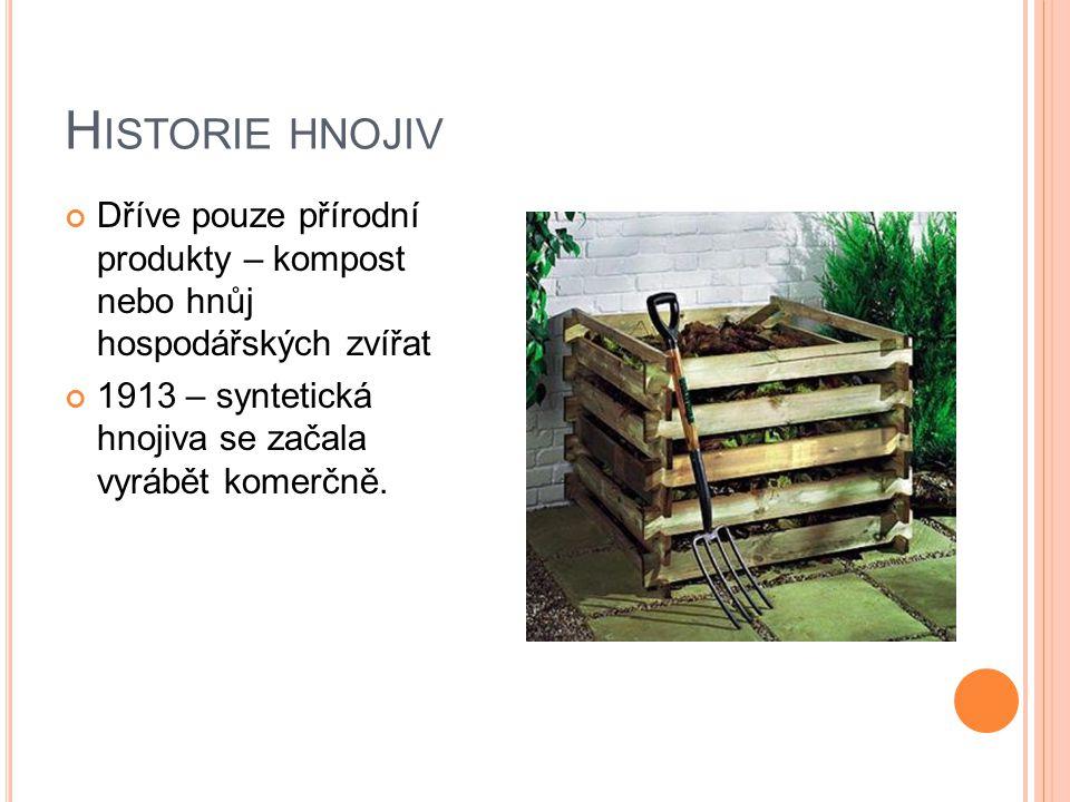 H ISTORIE HNOJIV Dříve pouze přírodní produkty – kompost nebo hnůj hospodářských zvířat 1913 – syntetická hnojiva se začala vyrábět komerčně.
