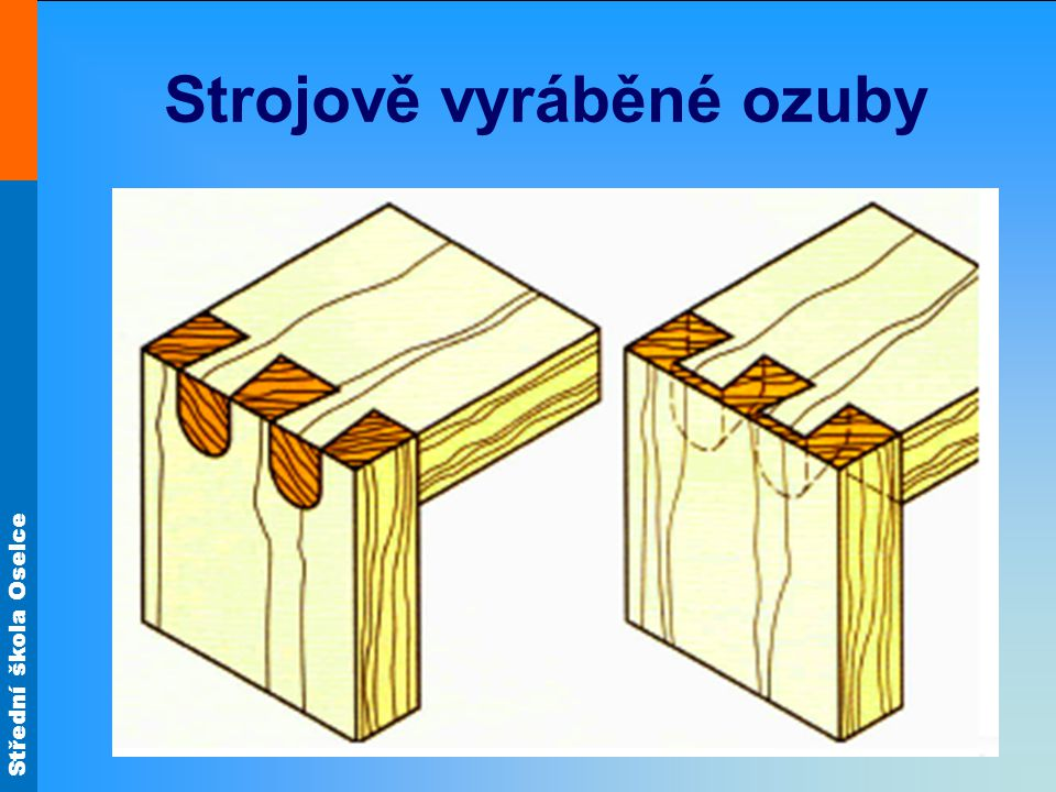 Střední škola Oselce Ozuby (charakteristika) Varianta A Jestliže jsou ozuby z vnější strany zajištěné klínky, musí být klínky uspořádané příčně k průběhu vláken boku.