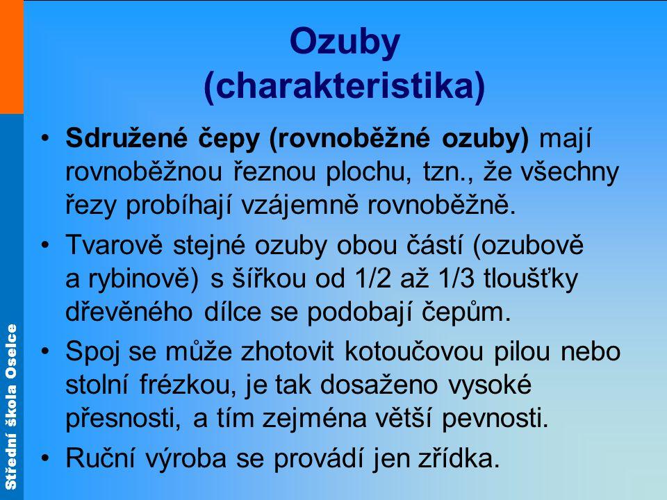 Střední škola Oselce Ozuby (charakteristika) Sdružené čepy (rovnoběžné ozuby) mají rovnoběžnou řeznou plochu, tzn., že všechny řezy probíhají vzájemně rovnoběžně.