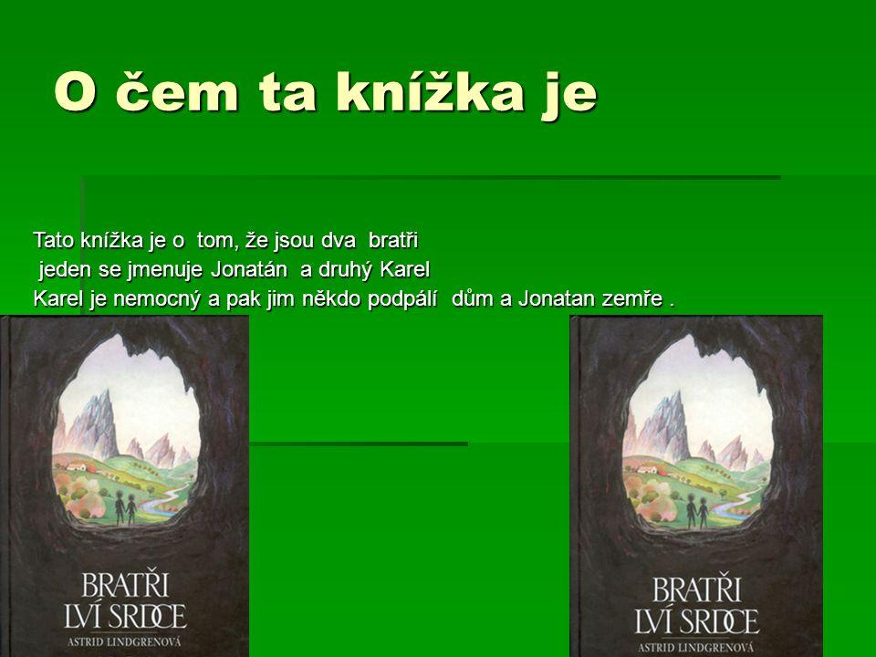 O čem ta knížka je Tato knížka je o tom, že jsou dva bratři jeden se jmenuje Jonatán a druhý Karel jeden se jmenuje Jonatán a druhý Karel Karel je nemocný a pak jim někdo podpálí dům a Jonatan zemře.