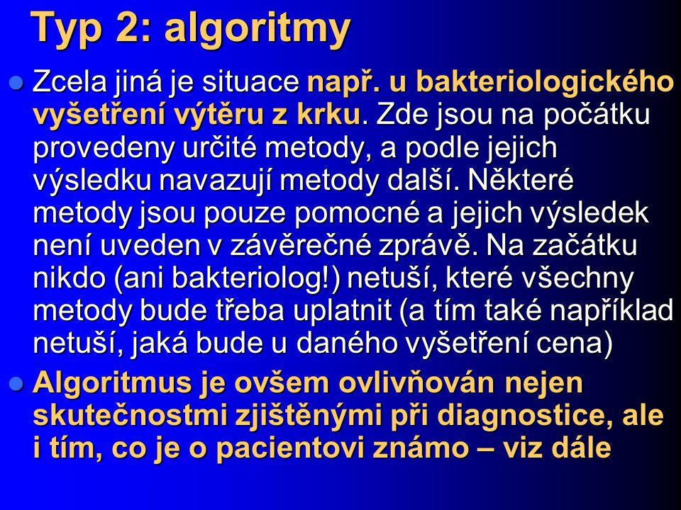Typ 2: algoritmy Zcela jiná je situace např. u bakteriologického vyšetření výtěru z krku. Zde jsou na počátku provedeny určité metody, a podle jejich