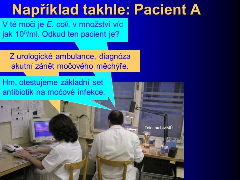 Například takhle: Pacient A Foto: archiv MÚ V té moči je E. coli, v množství víc jak 10 5 /ml. Odkud ten pacient je? Z urologické ambulance, diagnóza