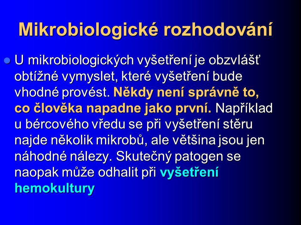 Mikrobiologické rozhodování U mikrobiologických vyšetření je obzvlášť obtížné vymyslet, které vyšetření bude vhodné provést. Někdy není správně to, co