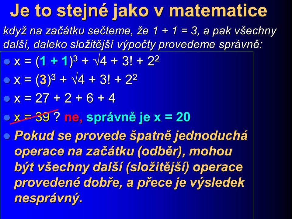 Je to stejné jako v matematice x = (1 + 1) 3 +  4 + 3! + 2 2 x = (1 + 1) 3 +  4 + 3! + 2 2 x = (3) 3 +  4 + 3! + 2 2 x = (3) 3 +  4 + 3! + 2 2 x =