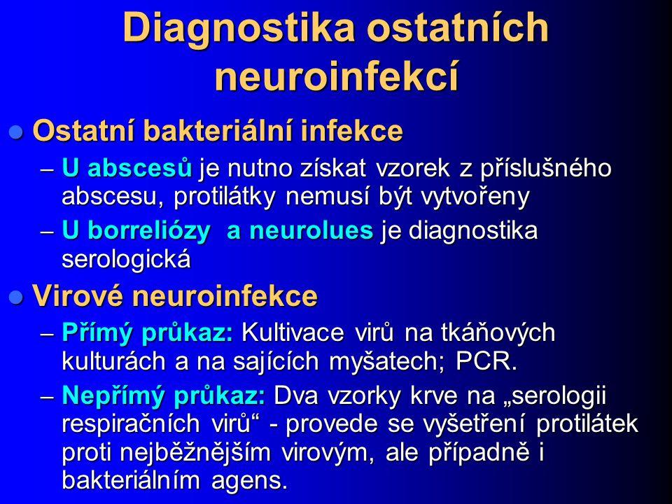 Diagnostika ostatních neuroinfekcí Ostatní bakteriální infekce Ostatní bakteriální infekce – U abscesů je nutno získat vzorek z příslušného abscesu, p