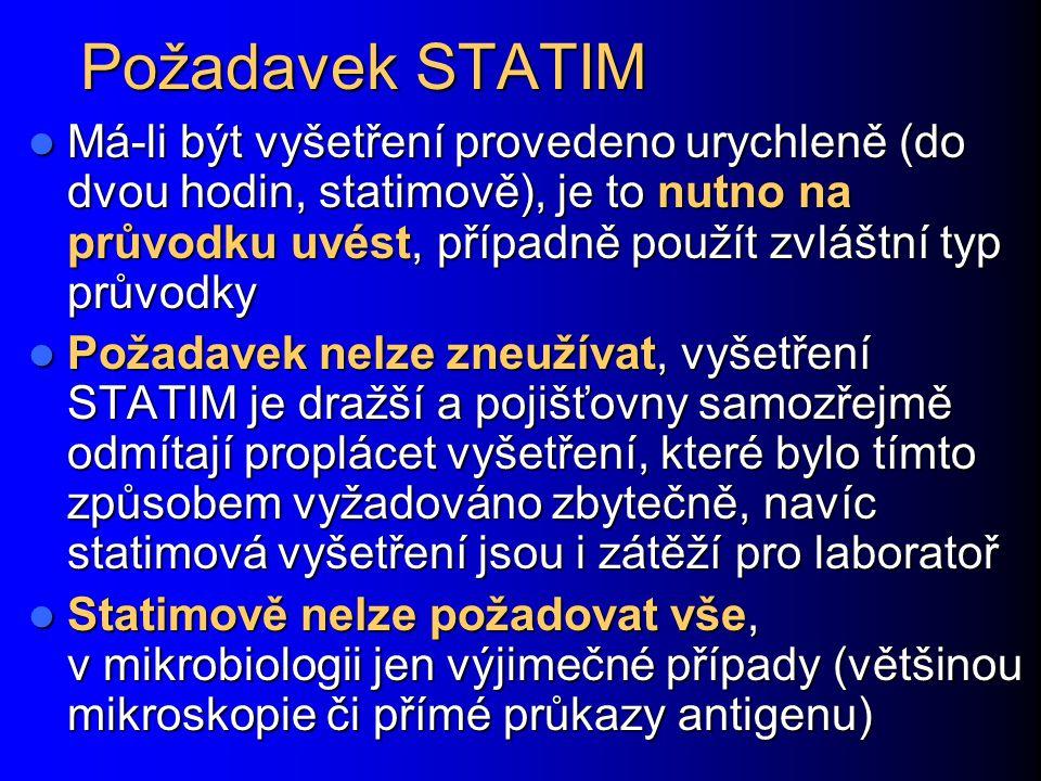 Požadavek STATIM Má-li být vyšetření provedeno urychleně (do dvou hodin, statimově), je to nutno na průvodku uvést, případně použít zvláštní typ průvo